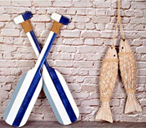 Wooden Oar Wall Decor and Antique Wood Fish Decor Ornament Wall Hanging, Indoor Décor Beach House Paddle Nautical Decor,Wooden Fish Decorations for Home Nautical, Hanging Wall Décor Ornaments