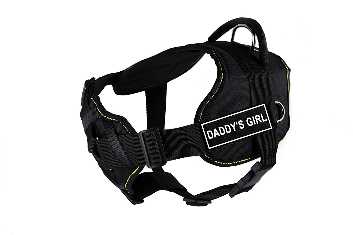 Dean & Tyler New DT FUN Dog Harness With Padded Chest Piece With 3 Straps, Yellow Trim Size  Medium (Will Fit  71cm 86cm) with  DADDY'S GIRL  Velcro Patches, Black White