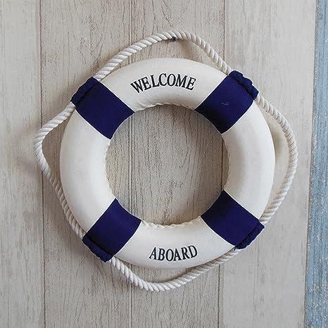 Gosear Bienvenido a Bordo náutica Salvavidas Anillo Pared Colgante casa decoración para casa Restaurante cafetería Props Rojo: Amazon.es: Hogar