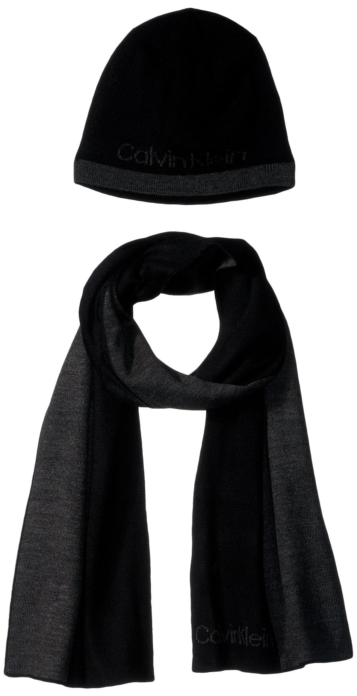 Calvin Klein Men's Blocked Logo Muffler Scarf and Hat Set, Black, One Size
