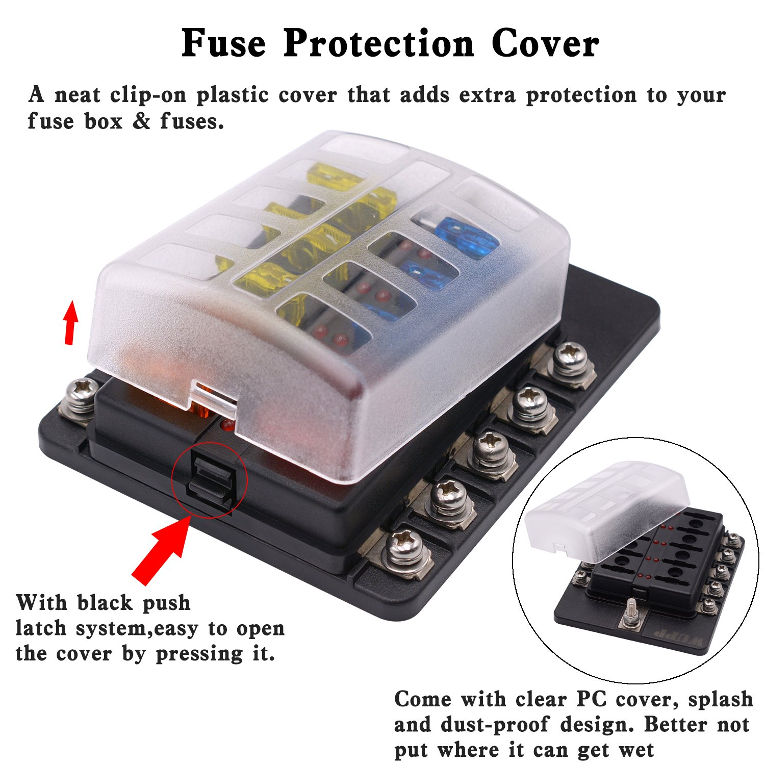 fuse box cover clip wiring library Disconnect Fuse Box Cover amazon com blade fuse box holder with led warning indicator damp proof cover