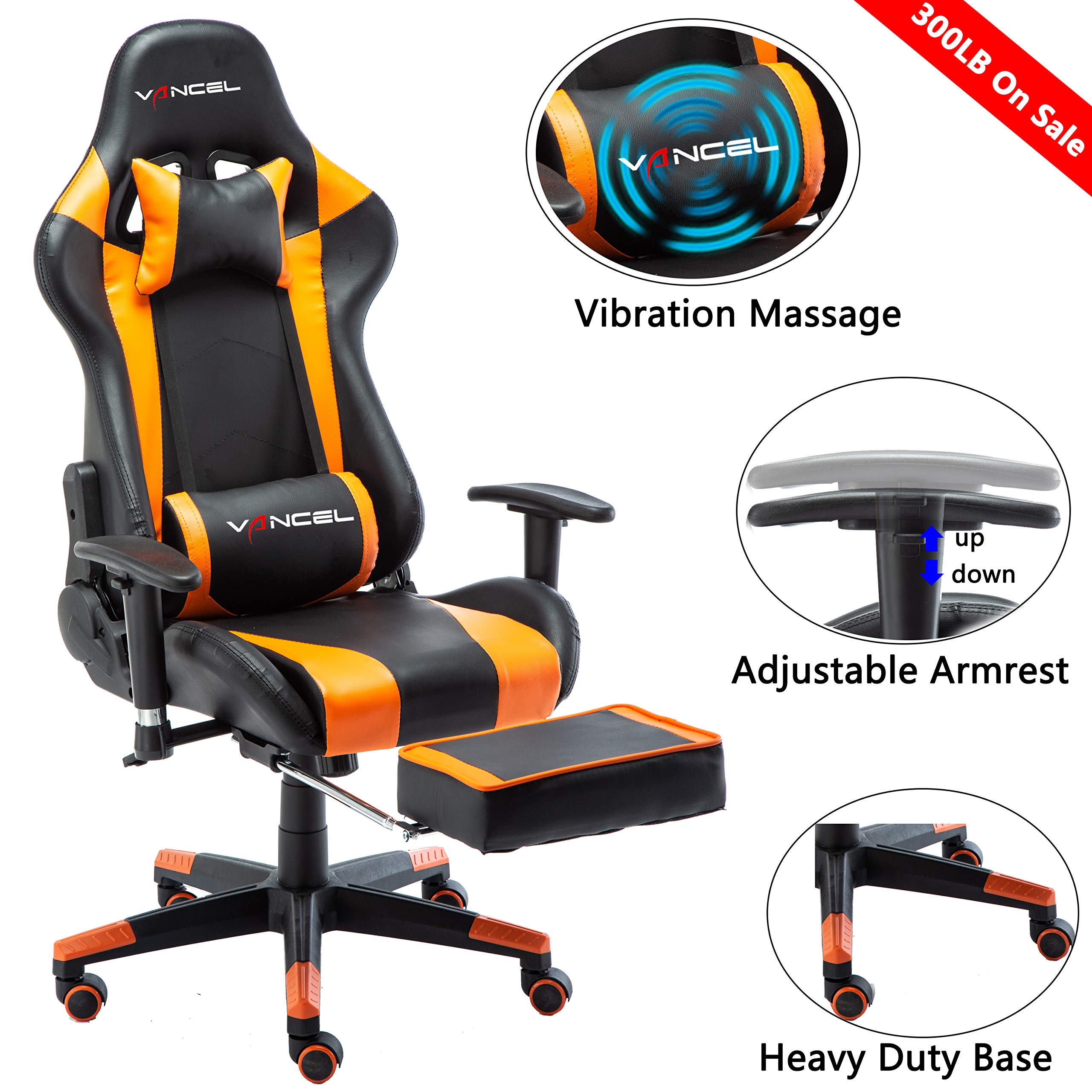 Gaming Chair Office Desk Chair High Back Computer Chair Ergonomic Adjustable Racing Chair Executive PC Chair with Headrest,Massager Lumbar Support & Retractible Footrest (Orange) by Ansuit