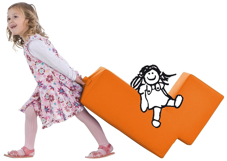 Lümmel Spielmöbel für Kinder in orange - der der der perfekte Sessel, Polsterhocker oder Sitzhocker für die Spielecke c12fd5