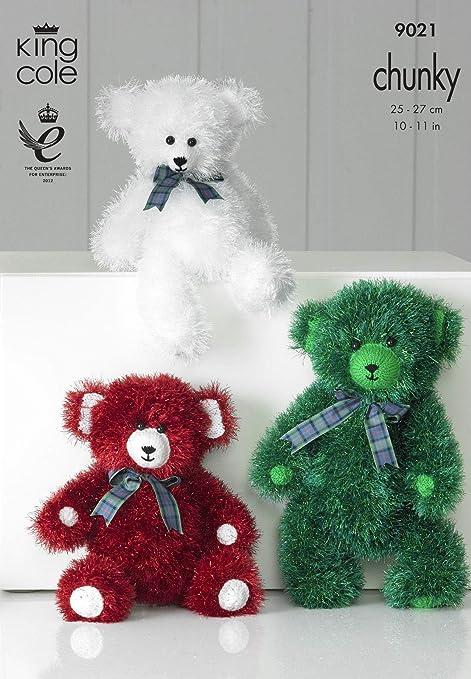 King Cole Tinsel Chunky Knitting Pattern - 9021 Teddy Bear Toys ...