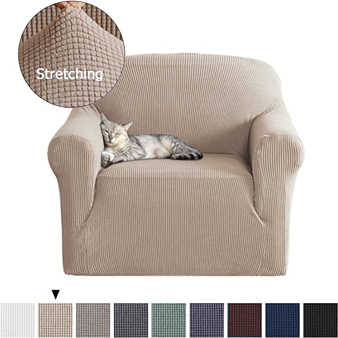 1 Piece Sofa Covers Slipcovers for Furniture Sofa Spandex Slipcover/Lounge Cover, Stretch Anti-Wrinkle Slip Resistant Form Fit Slipcover 1 Seater Chair Cover, Sand