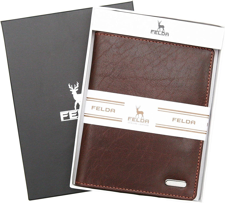Felda poche pour passeport//fentes pour cartes de cr/édit//protection RFID//bo/îte cadeau Portefeuille de voyage cuir