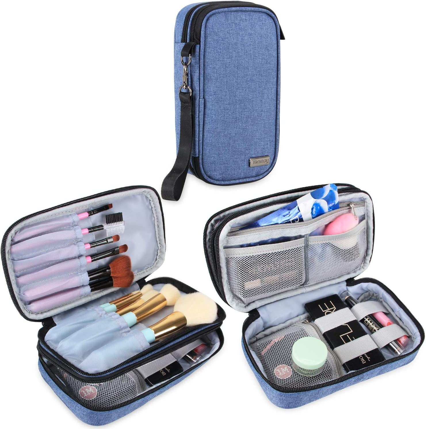 Teamoy - Bolsa para brochas de maquillaje (hasta 20 cm), organizador de brochas de maquillaje portátil para brochas de belleza, kit de maquillaje, azul (no incluye accesorios)
