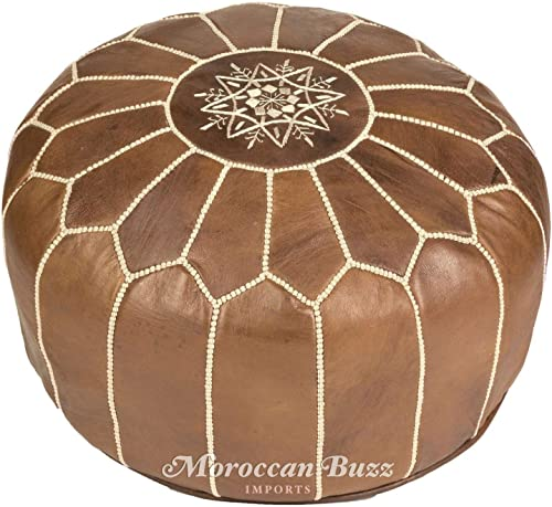 Moroccan Buzz UNSTUFFED Premium Leather Pouf Ottoman Cover, Natural Brown, Tan UNSTUFFED Pouf