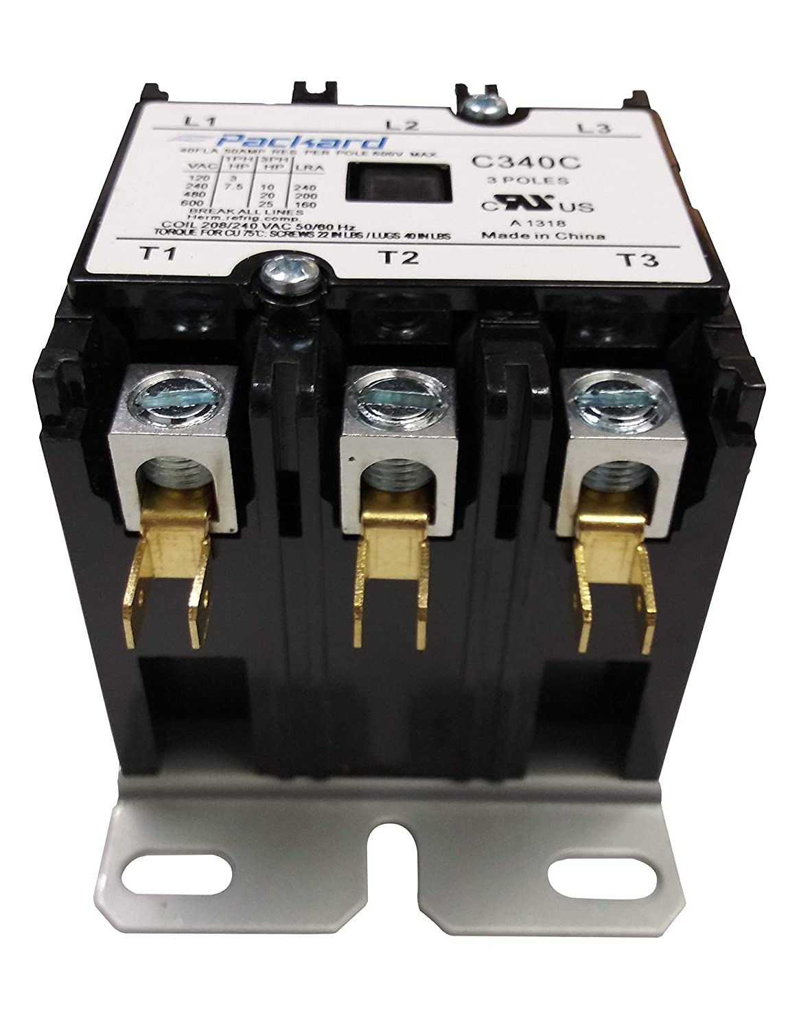 packard c340c 3 pole 40 amp contactor 208/240 volt coil contactor:  replacement household furnace electronic relays: amazon com: industrial &  scientific