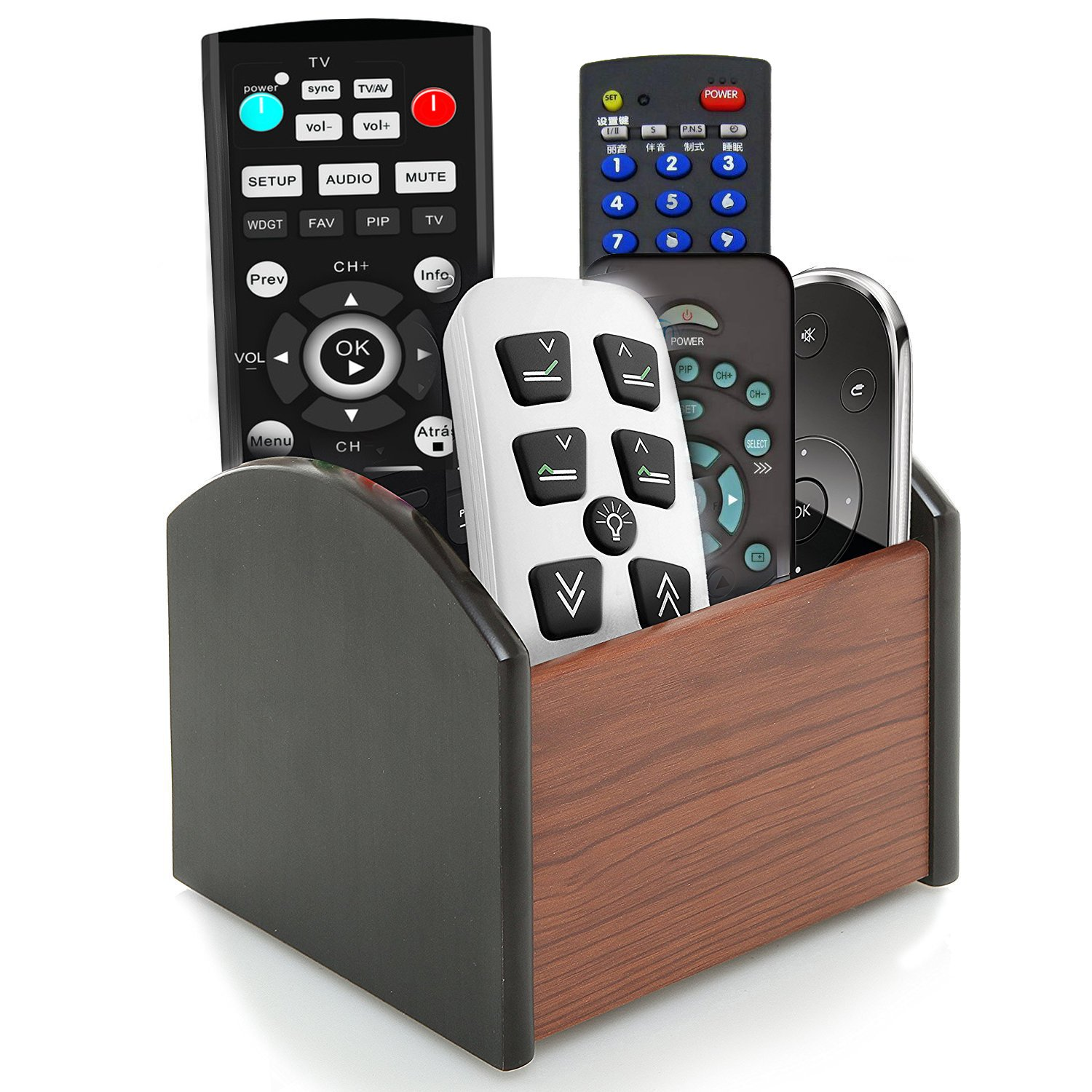 Coideal Rotating Remote Control Holder Stand Caddy/Revolving Wooden Desktop Office Supplies Storage Organizer/Spinning Pen Pencil Stationery Holder Container Box for Desk Table (4 Compartments)