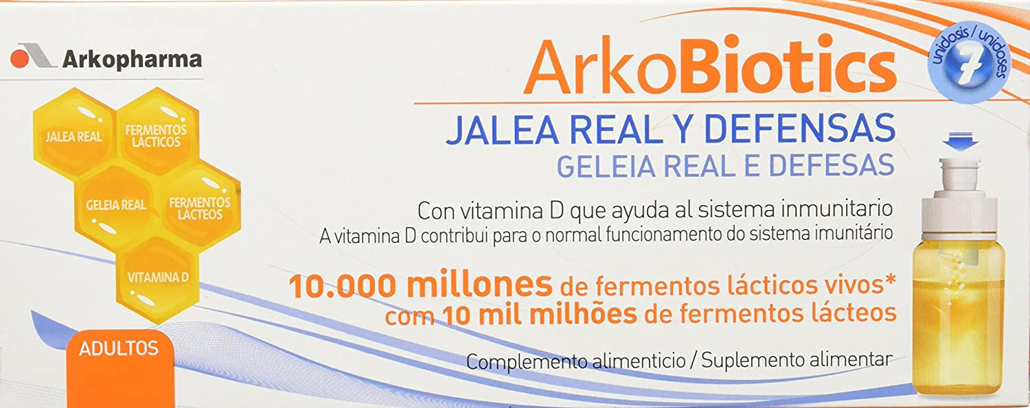 Amazon.com: Arkopharma Arko Royal + Royal Jelly + Vitamin D Milk Enzymes For Adults 7 Vials: Health & Personal Care