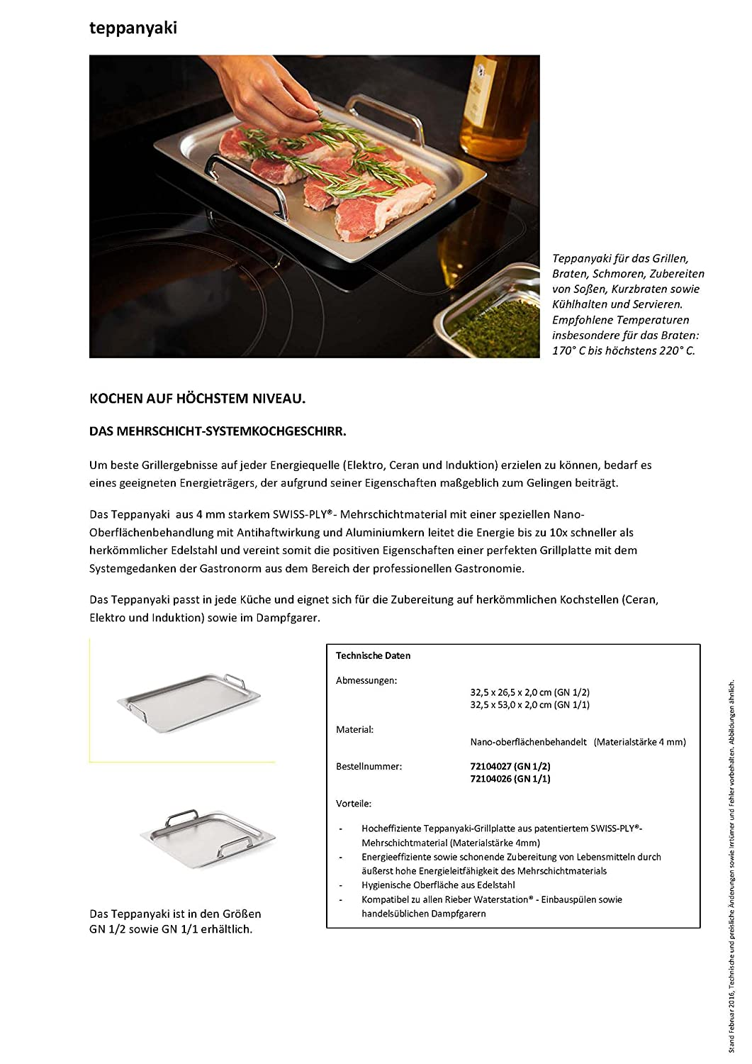Rieber Teppanyaki grill plate, made in Germany. Suitable for all ...
