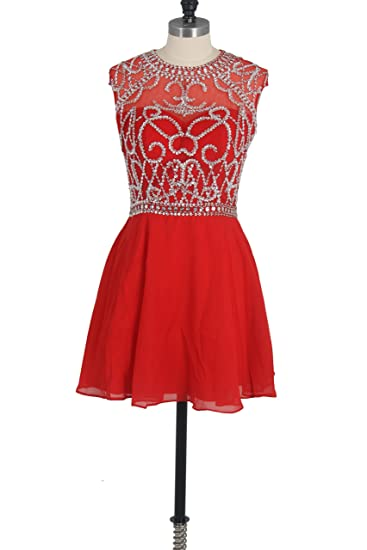 Red Womens Homecoming Dress A Line Scoop Red Chiffon Short Prom Dress