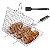 WolfWise Portable Grilling Basket BBQ Barbecue Tool Work for Fish Vegetable Steak Meat Shrimp Chops, Made of Durable 430…