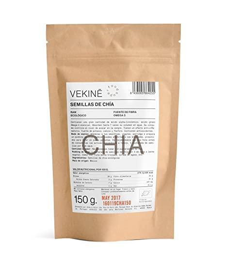 Semillas de chia PREMIUM ecologicas 450 gr superalimentos VEKINE | 3 X 150 gr Efecto saciante