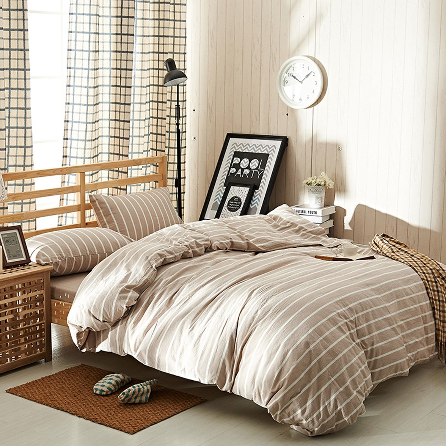 karever 100% Cotton Duvet Cover Set Tan Stripes Pattern Soft Queen Size 3 Piece Nautical Rugby Stripe Bedding Sets King Size With Zipper Closure Corner Ties