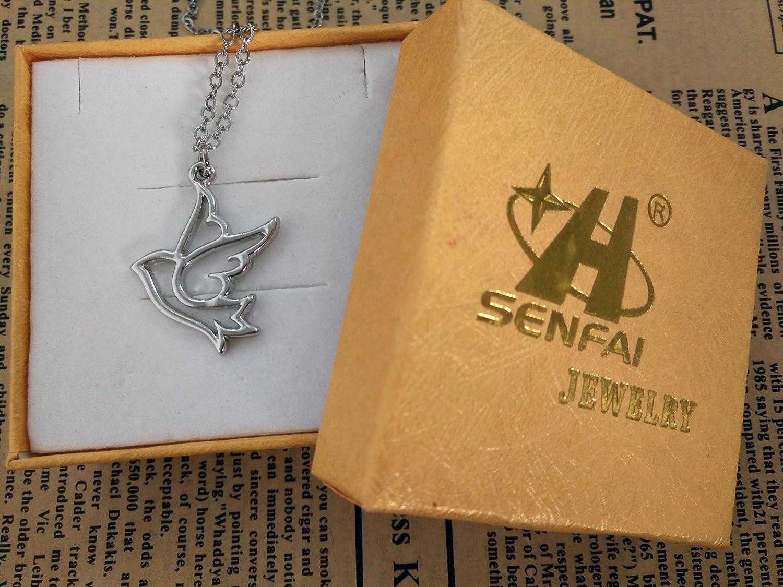 SENFAI Dove Bird Wings Pendant Necklace Rhodium Plated