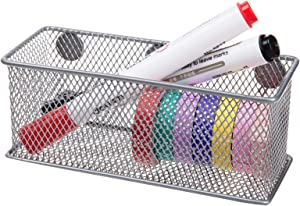 VANRA Wire Mesh Magnetic Storage Basket Hanging Supply Organizer Case Accessory Organizer Holder Caddy for Kitchen Office (Silver)
