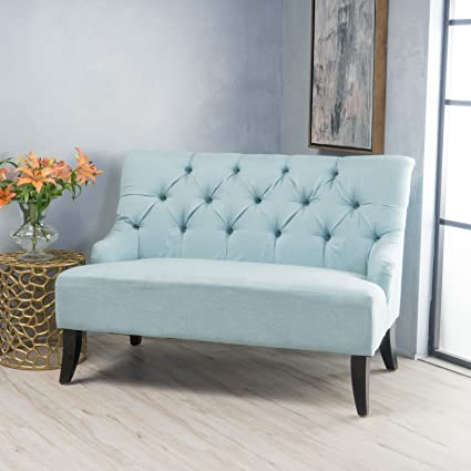 Magnificent Amazon Com New Light Blue Fabric Settee Loveseat Birch 100 Pabps2019 Chair Design Images Pabps2019Com