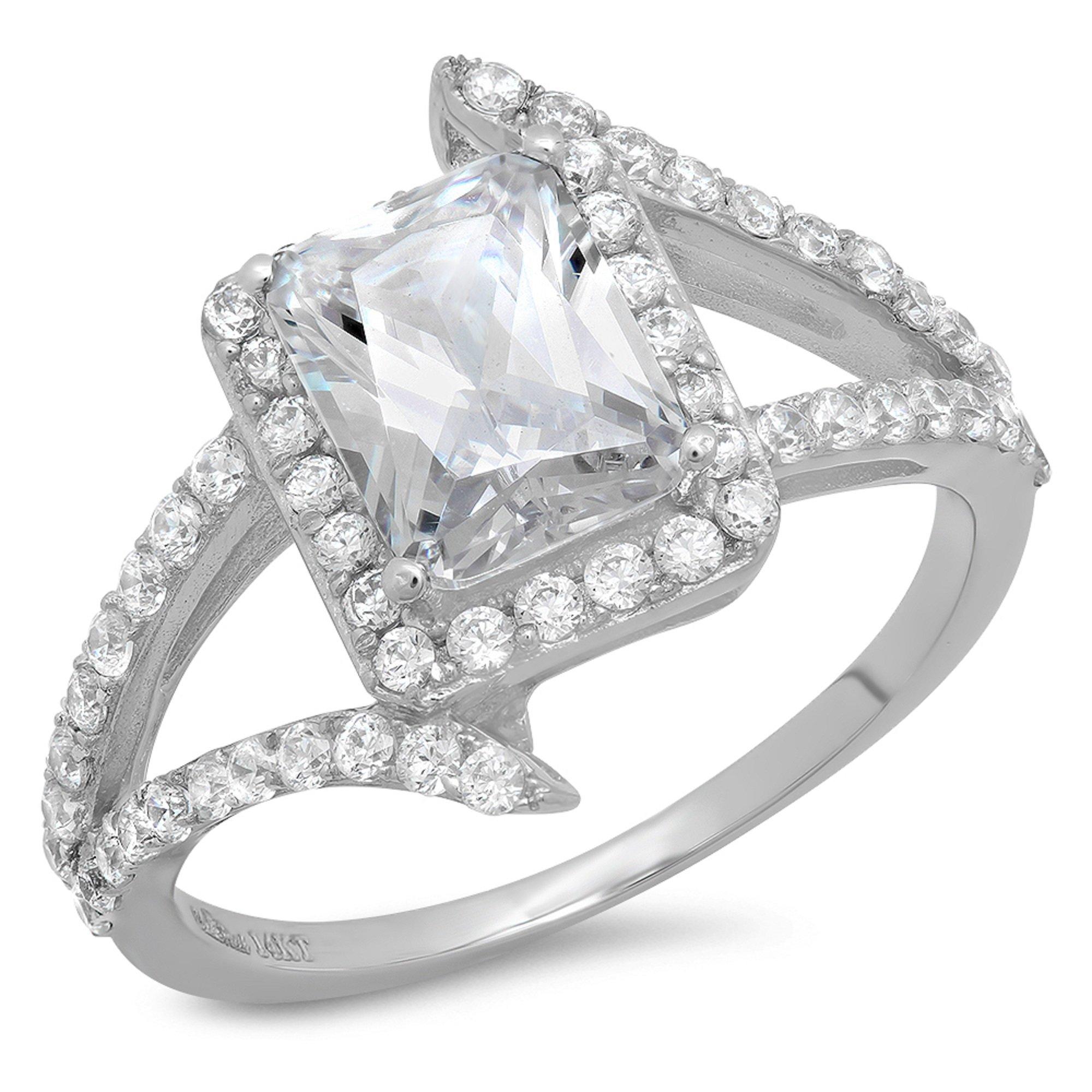 2.3 Ct Emerald Cut Criss Cross Engagement Wedding Bridal Anniversary Ring 14K White Gold, Size 8.25, Clara Pucci