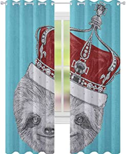 YUAZHOQI Sloth Thermal Insulated Blackout Curtain Cute Hand Drawn Animal with Imperial Ancient Crown King of Laziness Theme Decor Curtains 52