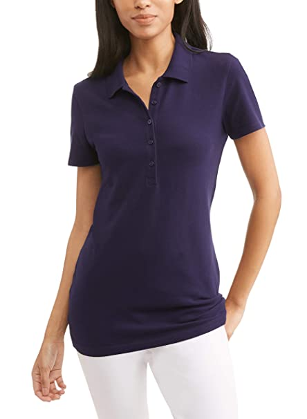 f2476c9538a Time and Tru Women s Essential Short Sleeve Polo T-Shirt (Blue Sapphire