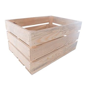 SEARCHBOX Grandes Cajas de Almacenamiento de Madera Frutas Verduras Apple//Sin Pintar Plain Caja de presentación/46 x 32 x 23 cm: Amazon.es: Hogar