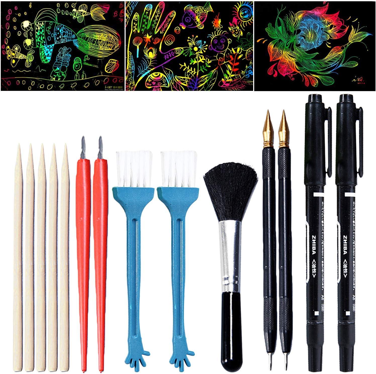 10 Pieces Pink/&White Scratch Color Pen//Scratch Paper Stick Stylus Tools for Kids Art Paper Painting//Coloring Stylus Scratch Paper Art Tool