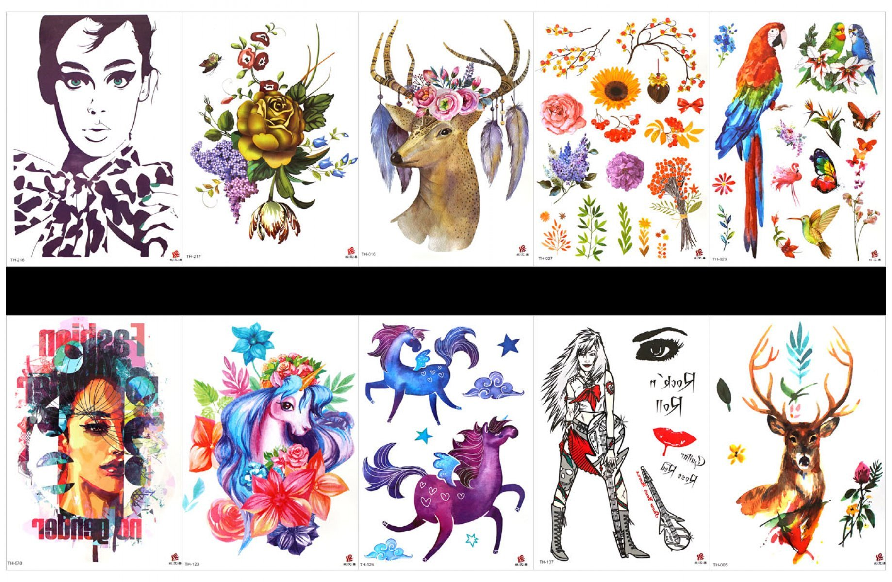 GGSELL GGSELL 10pcs tattoo horse temporary tattoos in one packages,including lady,rose,deer,flowers,parrot,birds,woman,horse with flowers,lady,deer,etc.