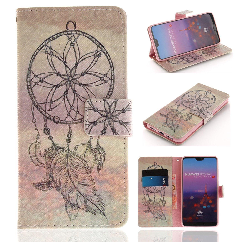 Custodia Huawei P20 Pro, Lyzwn Modello Albero Gatto Flip in Pelle PU Cuoio Copertura Case Cover con Wallet Portafoglio Supporto Carte Chiusura Magnetica Caso Copertina per Huawei P20 Pro