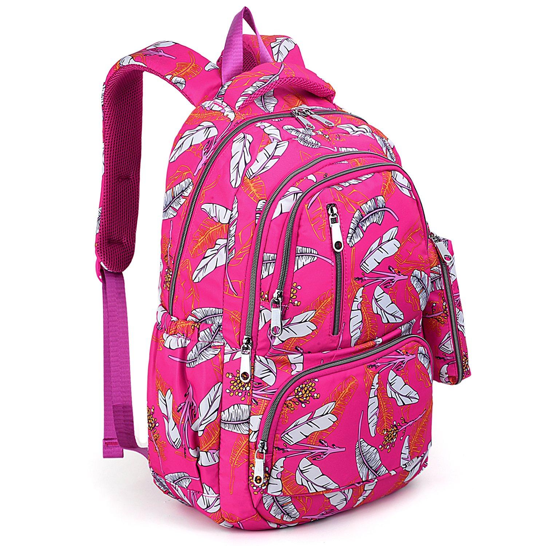 UTO Backpack for Girls Bookbag Teen Kids Children Toddlers Back to School Waterproof Nylon Lightweight Shoulder Purse with Pen Bag Rose Pink
