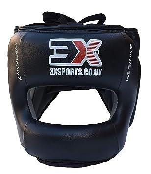 3X Sports Pro Leather Head Guard Kick Boxing UFC Headgear Helmet Fighting Gear