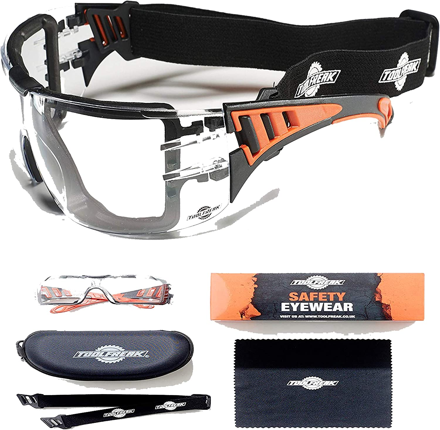 Eyewear Foam Padded for Comfort and Better Protection ToolFreak-Spoggles,Safety Glasses /& Protective Goggles Smoke Tinted Lens with Impact /& UV Protection ANSI Z87 Rated