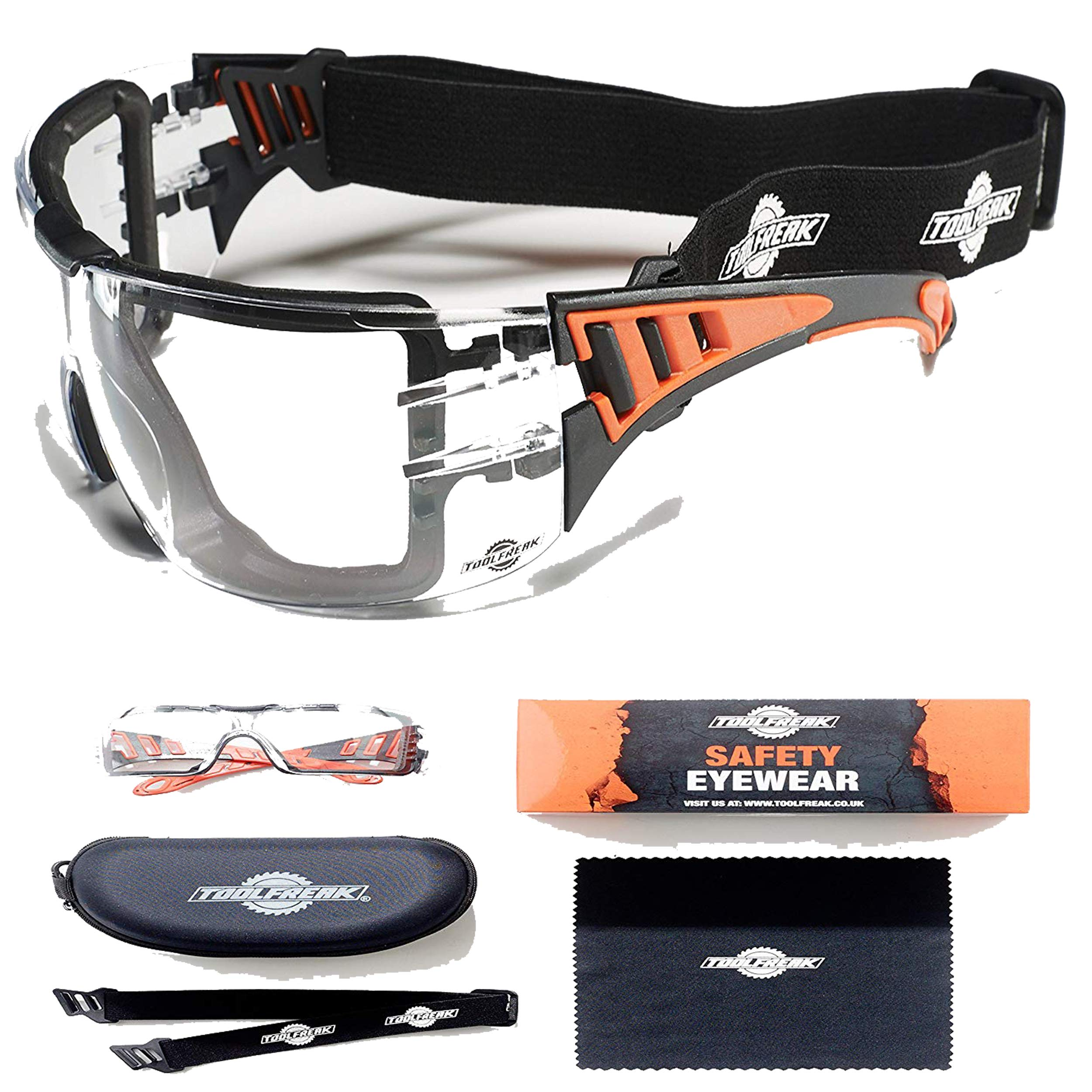 ToolFreak-Safety Glasses with Foam Padding | Protective Eyewear with Improved Vision For Men & Women | Treated to Help Reduce Fog and Scratch | Maximum UV Protection | Hard Case & Cloth (Clear Lens)