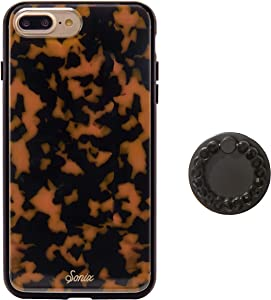 Sonix Brown Tort Cell Phone Case and Black Phone Ring for iPhone 8 Plus [10ft Drop Tested] Protective Luxe Tortoise Shell Leopard Print Case for Apple iPhone 6+, 6s+, 7+, 8+