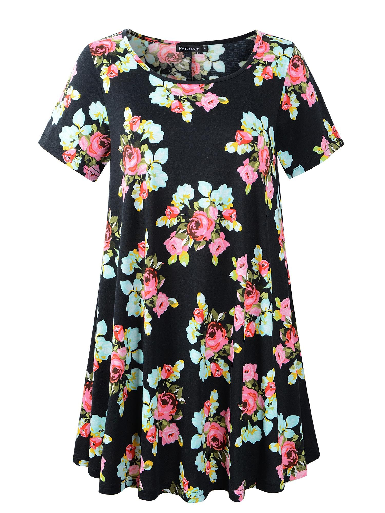 Veranee Women's Plus Size Swing Tunic Top Short Sleeve Floral Flare T-Shirt (X-Large, 56-1)