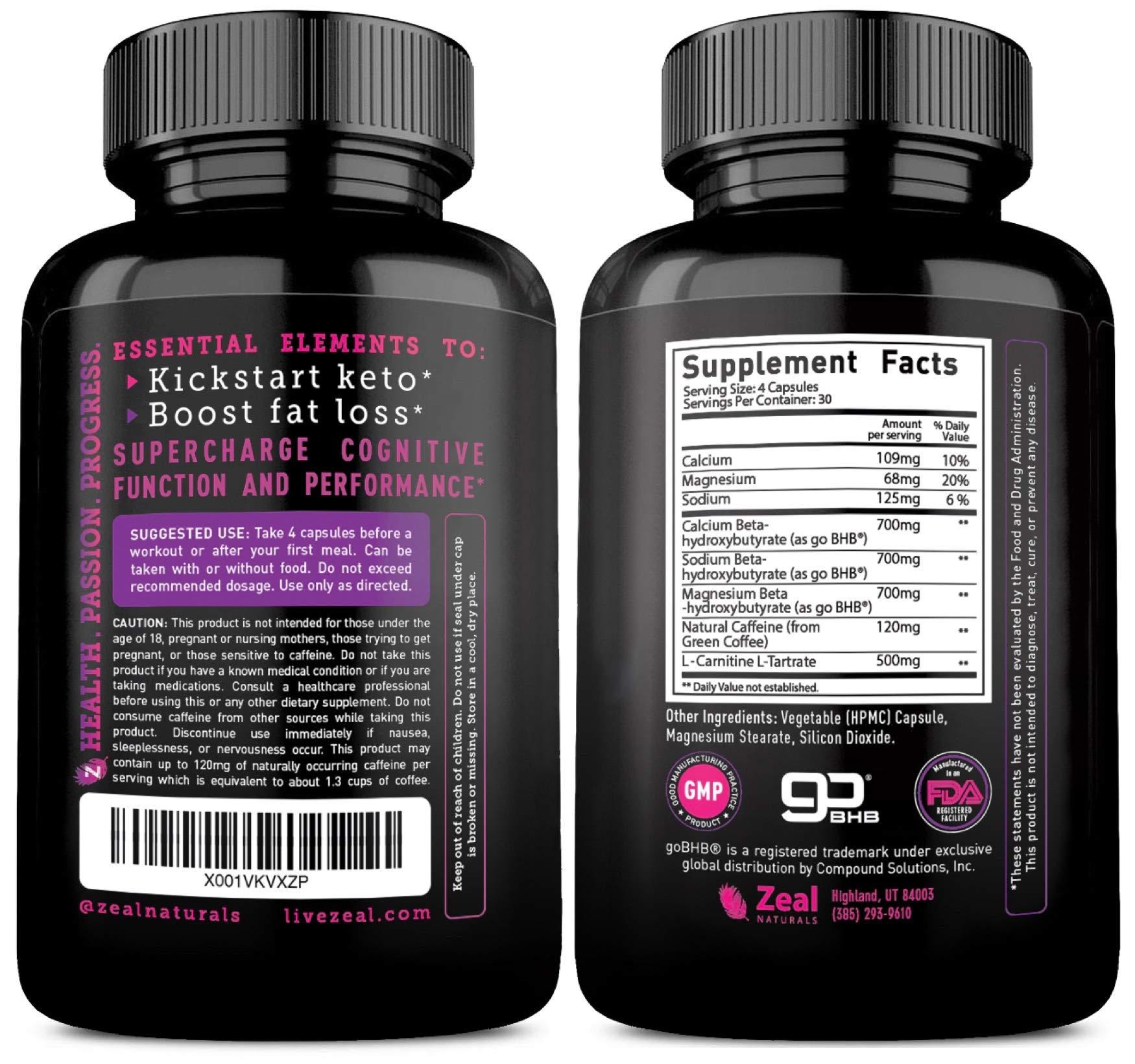 Keto BHB Exogenous Ketones Pills (2720mg | 120 Capsules) Keto Pills w. goBHB Salts, Natural Caffeine & L-Carnitine - Keto BHB Oil Capsules Beta Hydroxybutyrate for Weight Loss Keto Vitamins Keto Salts by Zeal Naturals (Image #2)