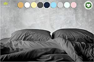 500-Thread-Count Organic Cotton Duvet Cover – 500TC King & California King Size Gray Color – for Bedding - 100% GOTS Certified Extra Long Staple, Soft Sateen Weave Finish – Luxury Collection
