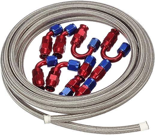 10pcs 6AN Hose Teflon Fitting Kit,Blue /& Red 20Ft AN6 3//8 Teflon PTFE E85 Oil Gas Fuel Hose Stainless Steel Braided