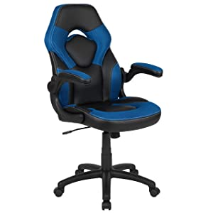 Flash Furniture X10 Gaming Chair Racing Office Ergonomic Computer PC Adjustable Swivel Chair with Flip-up Arms, Blue/Black LeatherSoft - CH-00095-BL-GG
