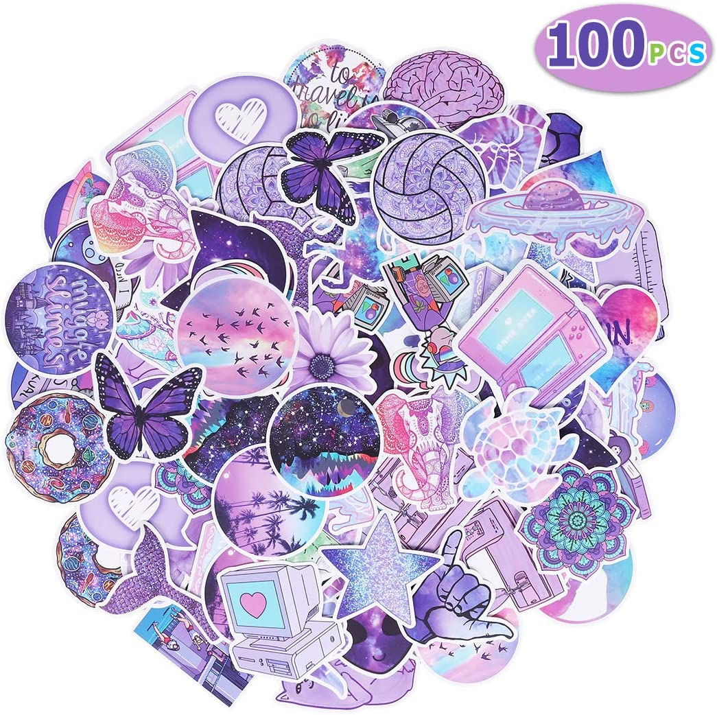 Max Fun Waterproof Stickers Packs for Kids Party Favors Water Bottle Laptop Envelopes Gifts Tags Crafts Windows Phone Luggage Snowboard(Pack of 100) (Purple)