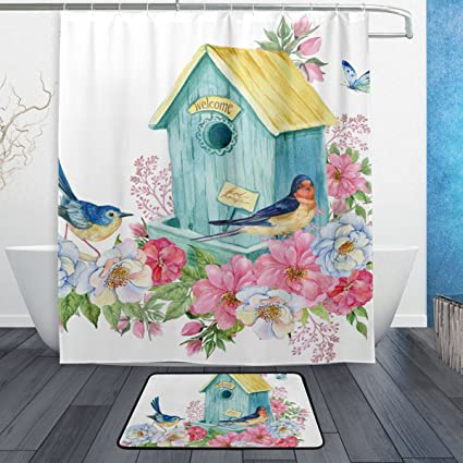 ColourLife Shower Curtain And Rug Set Bird House Swallow Polyester Waterproof Mildew Resistant Bath