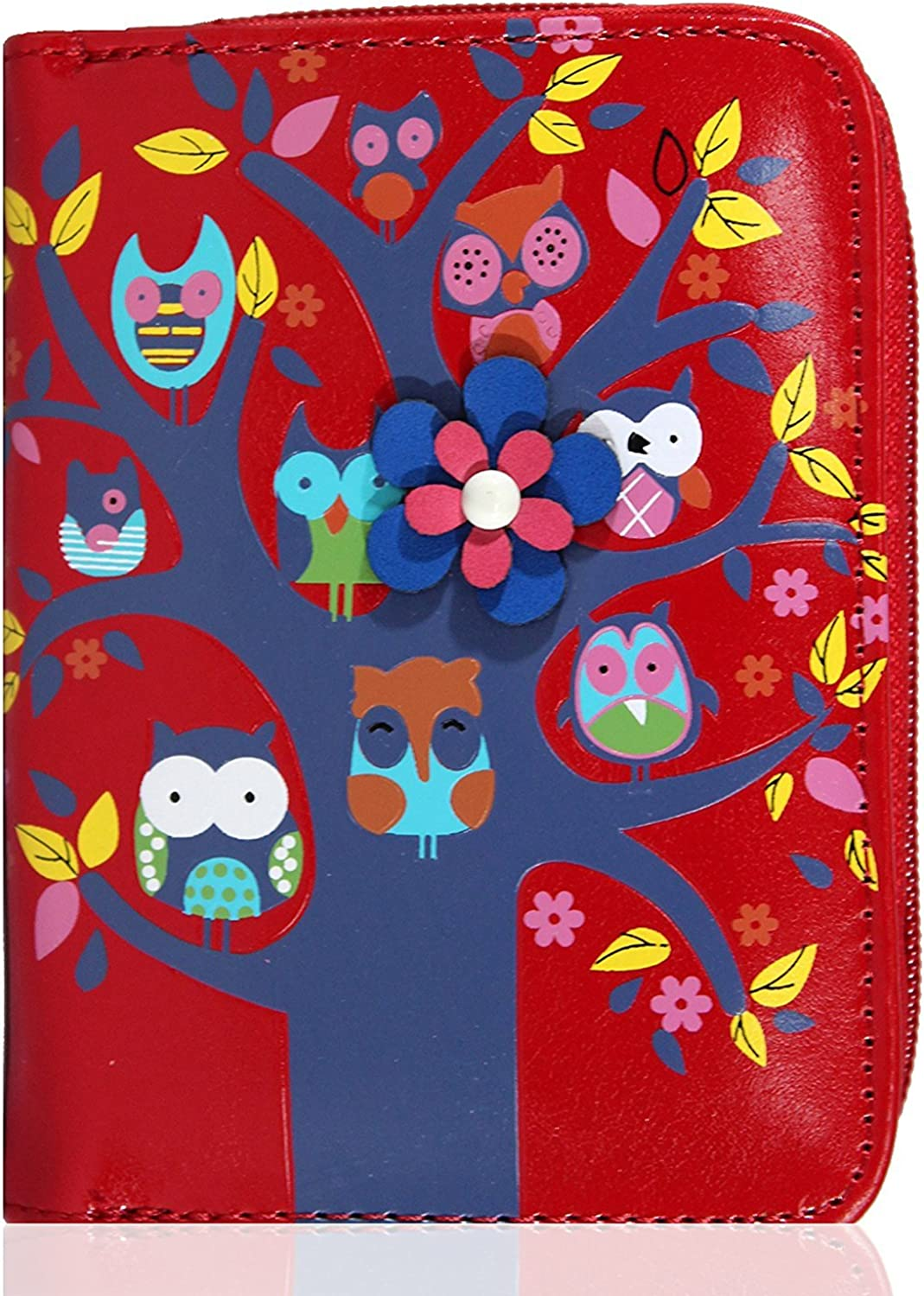 kukubird 33D Owl Family Tree House Pattern Medium Ladies Purse Clutch Wallet