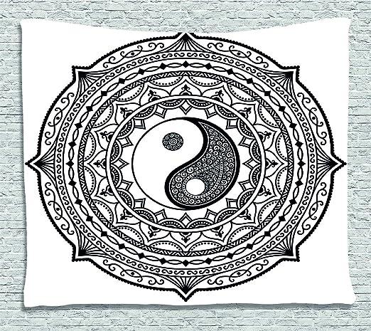 ABAKUHAUS japonés Tapiz de Pared, Símbolo asiático Ying Yang, para ...