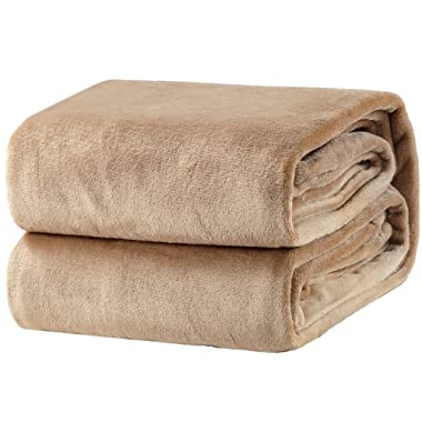 Bedsure Fleece Blanket Throw Size Taupe Lightweight Super Soft Cozy Beige Bed Blanket