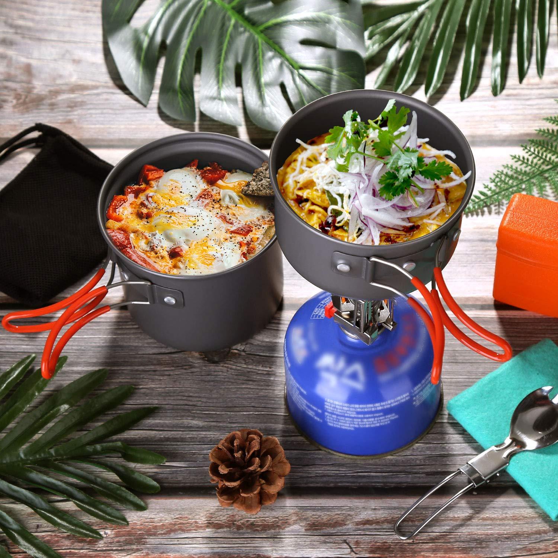 Cubiertos Plegable Odoland Utensilios Cocina Camping Kit con 1.2 L Ollas Camping y 0.6 L Sart/én de Aluminio Estufa Trekking Taza de Acero Inoxidable Cacerolas de Acampada de Camping y Viaje