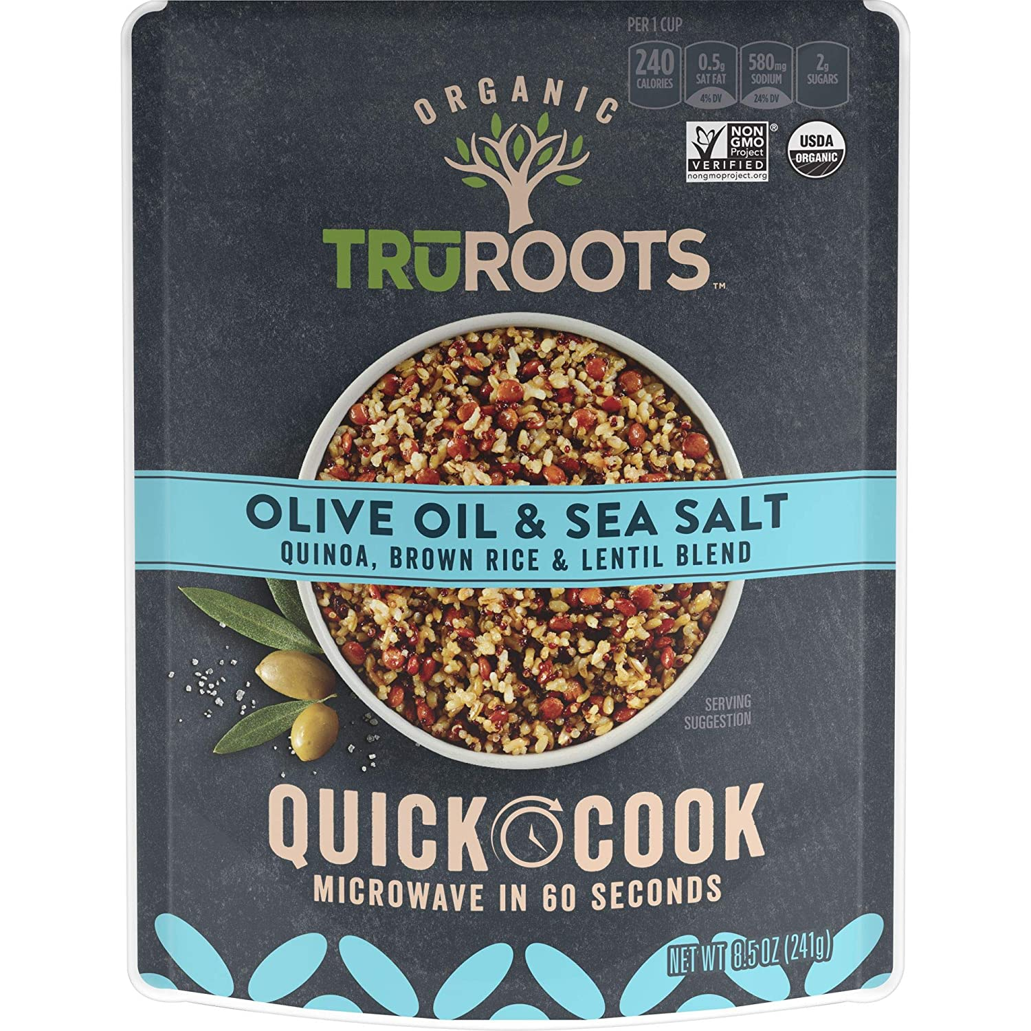 TruRoots Organic Quick Cook Olive Oil and Sea Salt Quinoa, Brown Rice and Lentil Blend, 8.5 Ounces (Pack of 8), Ready to Eat in 60 Seconds, Certified USDA Organic, Non-GMO Project Verified