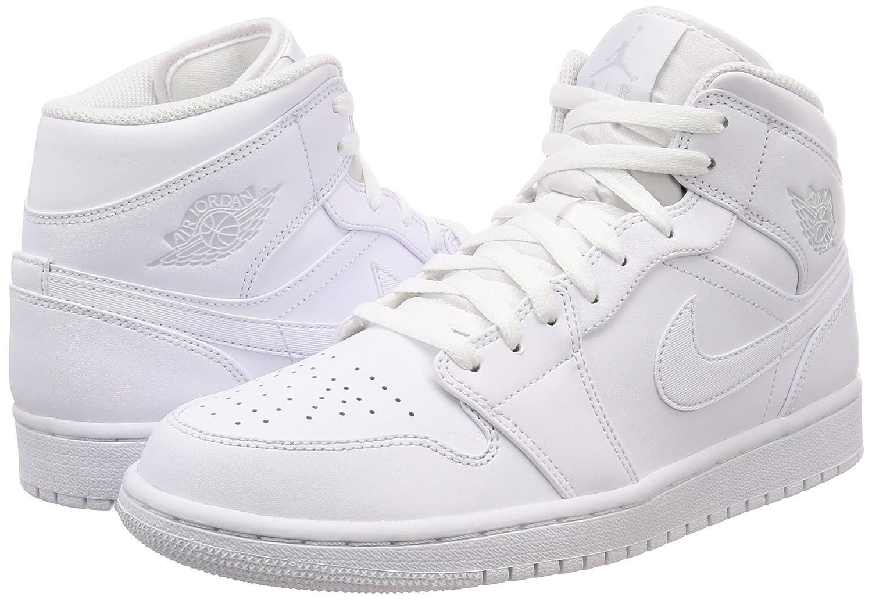 the best attitude bc9cf 28b06 Nike Air Jordan 1 Mid Scarpe da Basket Uomo Uomo Uomo B0721CXFCH 50.5 EU  Bianco (bianca ...