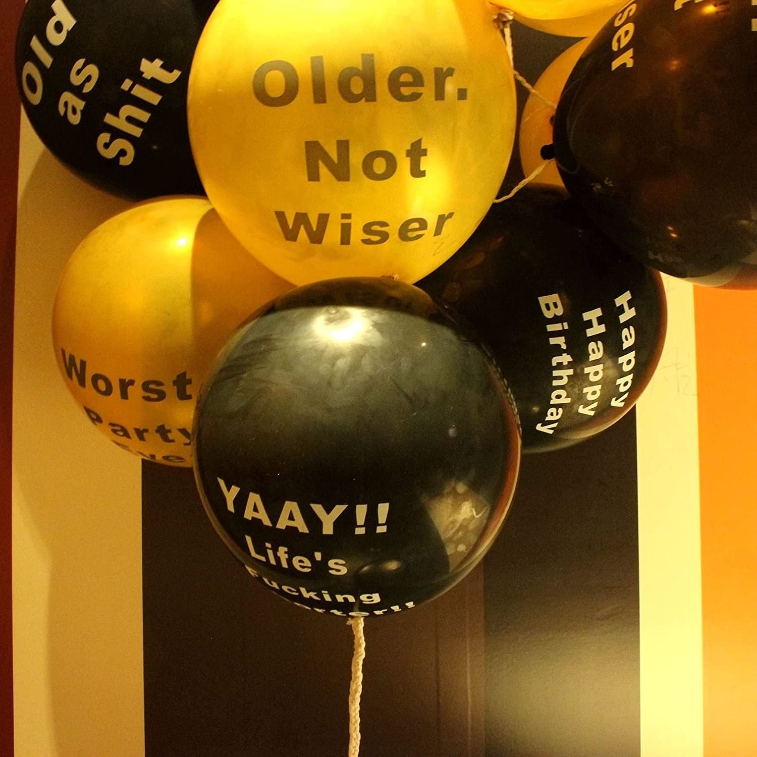 Abusive Birthday Balloons Naughty Funny Offensive Balloons for Her Him Adults Birthday Party Balloons Gold Black - 10 Pcs