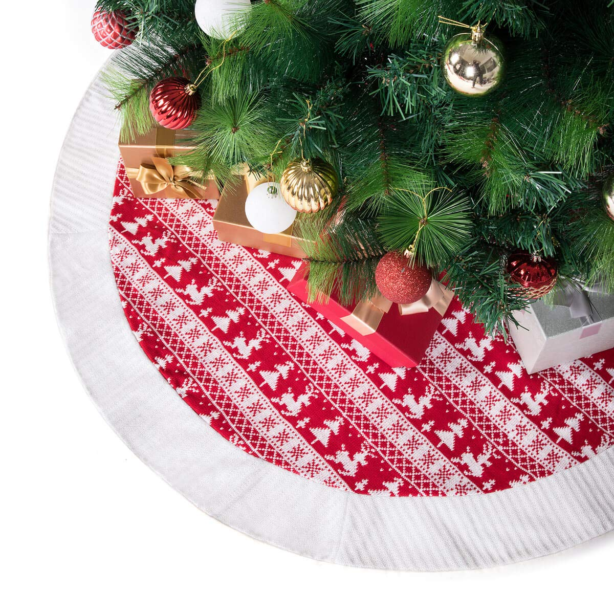 Beige /& Red Edge ARCCI 42 Burlap Christmas Tree Skirt Classic Holiday Decorations Double Layers Xmas Tree Ornaments with Santa Claus /& Snowflake Pattern